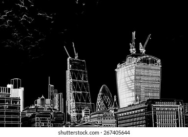 Illustration of city buildings.