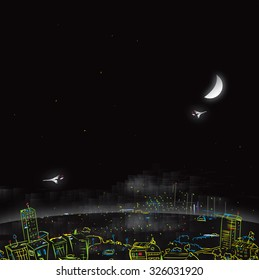 Illustration of city at night with moon and flying airplanes in te dark sky, concept of modern city life