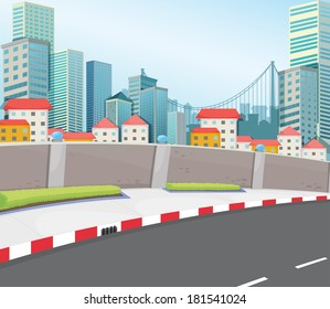 Illustration of a city with tall buildings