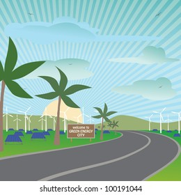illustration of a city using renewable energy sources for electricity needs.