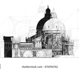 Illustration classical architecture black and white