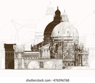Illustration classical architecture sepia