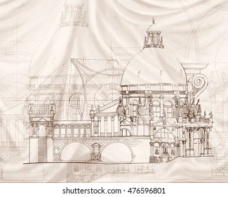 Illustration classical architecture textile effect in sepia