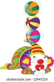 Illustration of a clown balancing balls on his hat