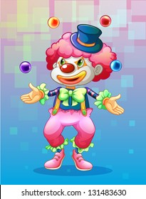 Illustration of a clown with four colorful balls