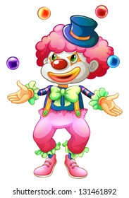 Illustration of a clown with her balls on a white background