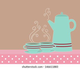 an illustration of a coffee pot with two matching cups and saucers in vintage jade brown pink and red and space for text