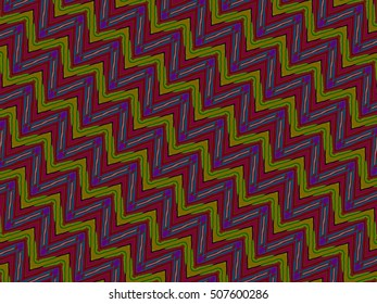Illustration of a color full pattern made of red tones and green zig zag style