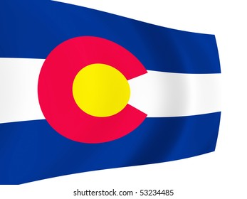 Illustration of Colorado State flag waving in the wind