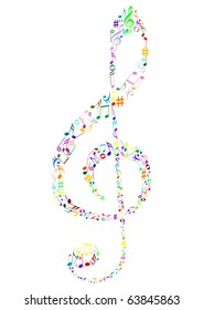 Illustration of a colored G clef with music notes