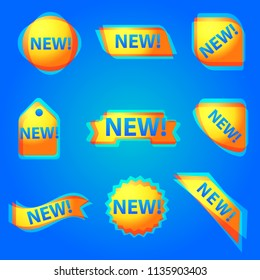 illustration of colorful new advertising web banners for new products