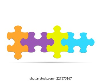 Illustration of colorful puzzle pieces isolated on a white background.