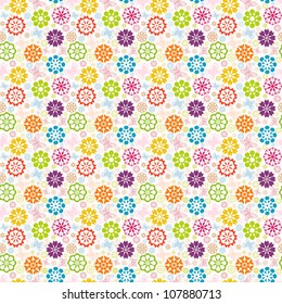 illustration of a colorful seamless pattern with  flowers and butterflies