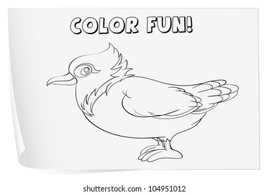 Illustration of a colouring worksheet (bird) - EPS VECTOR format also available in my portfolio.