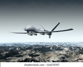 Illustration of a combat drone flying over barren mountains