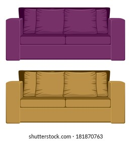 Illustration of comfortable purple and camel color sofa isolated on white background