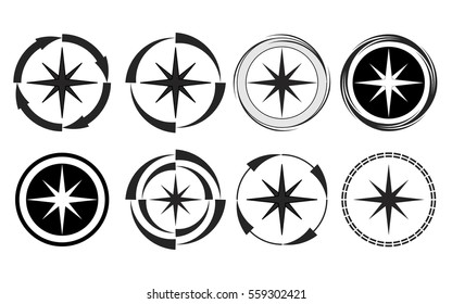 Illustration of compass collection in black and white.