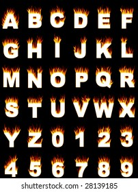 Illustration of the complete alphabet and digits with a flame effect.