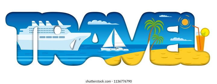illustration of concept text logo sign for cruise resort and travel