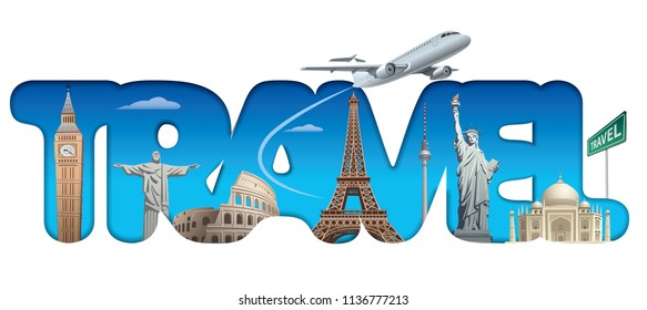 illustration of concept text logo sign for cruise and travel around the world