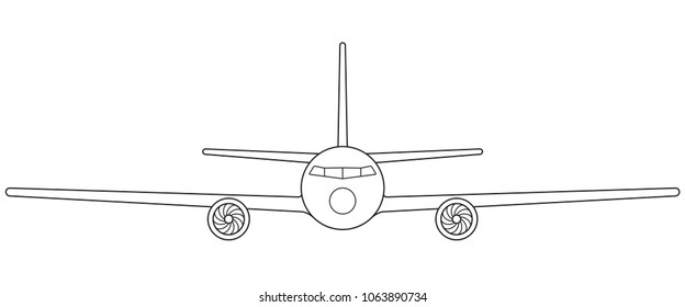 Illustration of the contour aeroplane front view