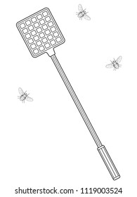 Illustration of the contour flies and swatter