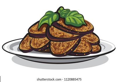 illustration of cooked roasted eggplants on plate
