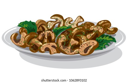 illustration of cooked roasted mushrooms with parley in plate