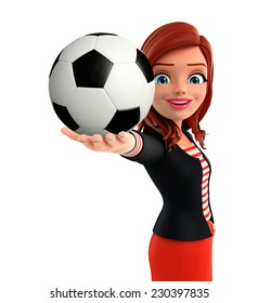 Illustration of corporate lady with football