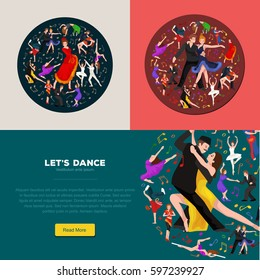 illustration of couple dancing modern dance, Partners bachata, style design concept set, traditional flat icons isolated , Man and woman ballroom .