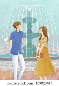 Illustration of couple at water fountain