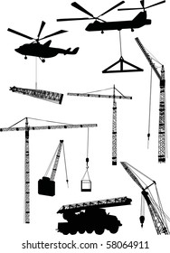 illustration with cranes and helicopters collection