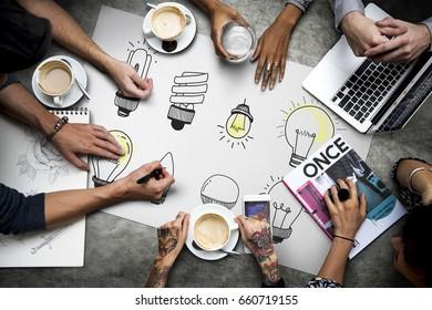 Illustration of creativity ideas light bulb