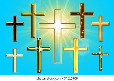 illustration of a cross with rays