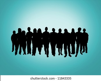 Illustration of a crowd of people