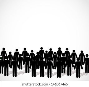 Illustration of crowd of people - icon silhouettes