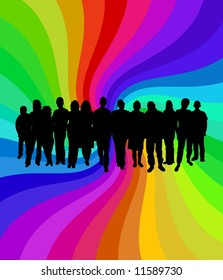 Illustration of a crowd of people over a colorful background