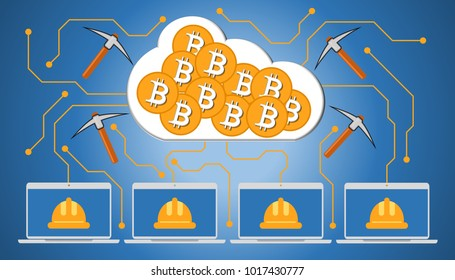 Illustration of cryptocurrency cloud mining. Digital miner working on virtual mining bitcoin cloud by using computer and electronic pickaxe. Business concept.