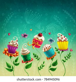 Illustration with cup cakes flowers