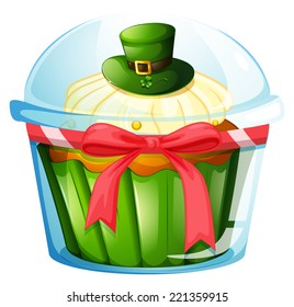 Illustration of a cupcake inside the transparent container on a white background
