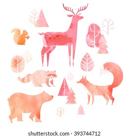 Illustration of cute animals: fox, bear, raccoon, deer and squirrel with watercolor texture.