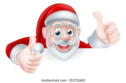 An illustration of a cute Cartoon Santa peeking over a sign giving a double thumbs up
