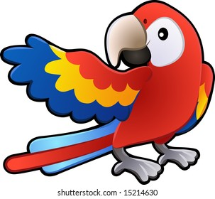 A  illustration of a cute friendly Macaw Parrot