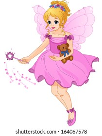 Illustration of a cute girl in a purple dress with fairy wings. Beautiful little princess. Wave a magic wand. Raster illustration.