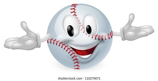 Illustration of a cute happy baseball ball mascot man