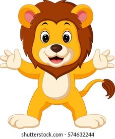 illustration of cute lion cartoon