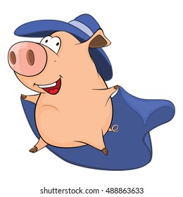 Illustration of Cute Pig in Superhero Costume Cartoon Character