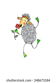 Illustration with cute sheep holding flower