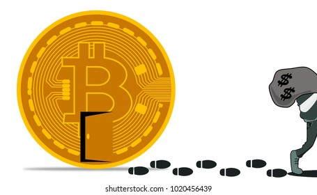 Illustration of cybercrime on bitcoin ponzi scheme. Robber steal cash from bitcoin. Cryptocurrency fraud concept.