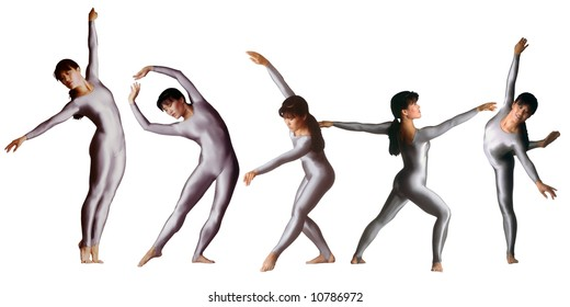 Illustration of a dancer in different positions in silver leotard